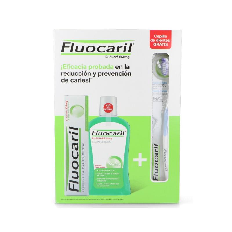 Pack Fluocaril Pasta 125ml + Colutorio 500ml + Cepillo de Dientes
