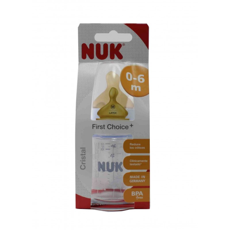 NUK FIRST CHOICE BIBERON CRISTAL LATEX 120 CC 1M
